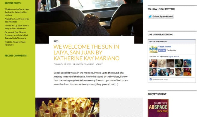 A wordpress website for a Philippine Travel blog www.yapaktravel.com
