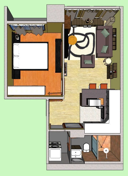 An interior design done in s sketchup for a 40sqm condominium